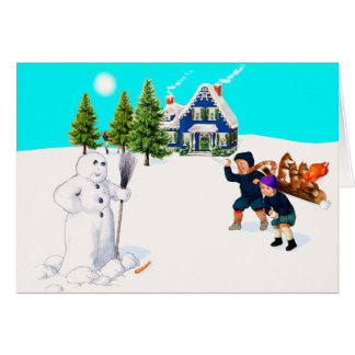Spot The Differences Snowman Snowball Fight Game Card