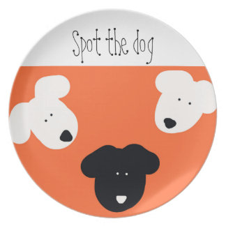 Spot The Dog. Colourful whimsical dog design plate