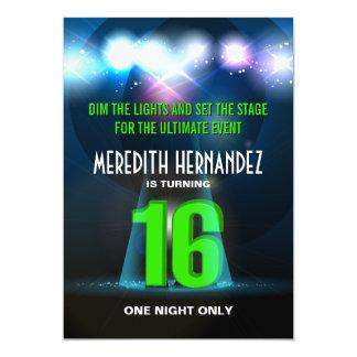 "Spotlight Star Green Sweet 16 5"" X 7"" Invitation Card"