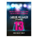 Spotlight Star Pink 13th Birthday Invitations