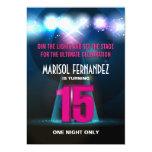 Spotlight Star Pink Quinceañera Invitation
