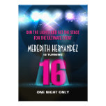 Spotlight Star Pink Sweet 16 Personalised Announcements