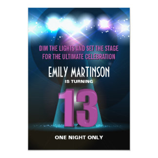 Spotlight Star Purple 13th Birthday Party Card