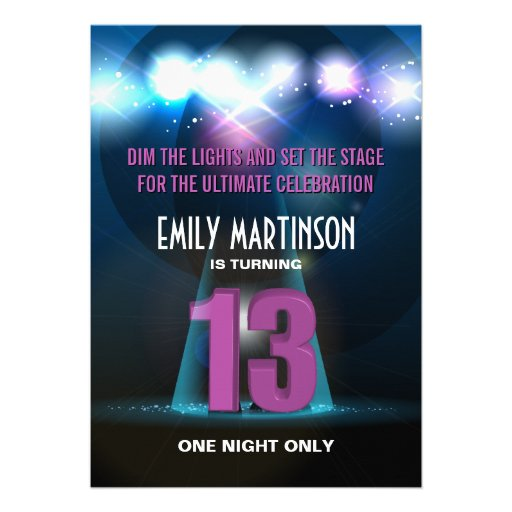 Spotlight Star Purple 13th Birthday Party Personalized Invitations