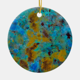Spotted Blue Chrysocolla Jasper Round Ceramic Decoration