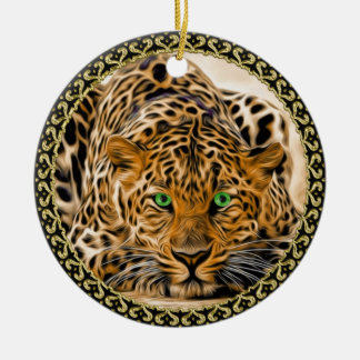 Spotted Bright green eye leopard looking at you Christmas Ornament