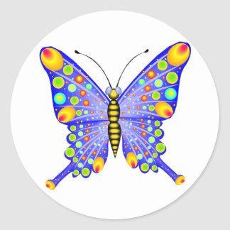 Spotted Butterfly 1 Round Sticker