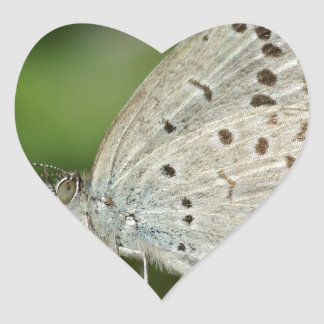 Spotted Cream Coloured Butterfly Heart Stickers