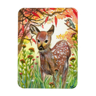 Spotted Deer And Little Bird Magnet