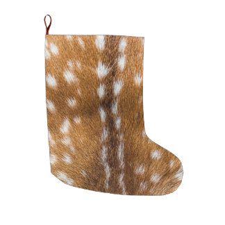 Spotted deer fur texture large christmas stocking