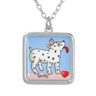 Spotted Dog with Small Heart - Necklace