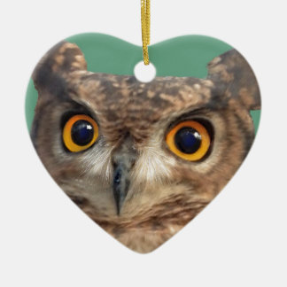 Spotted eagle-owl ceramic heart decoration
