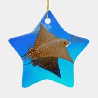 Spotted eagle rays underwater Galapagos Ceramic Star Decoration