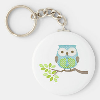 Spotted Executive Owl in Tree Basic Round Button Key Ring