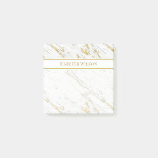 Spotted Gold Glitter White Marble Post-it Notes