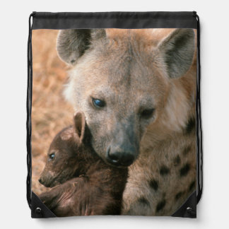 Spotted Hyena (Crocuta Crocuta) With Pup Drawstring Bag