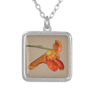 Spotted Jewelweed Square Pendant Necklace