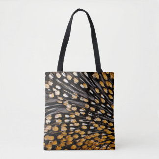 Spotted Jungle Fowl Feather Abstract Tote Bag