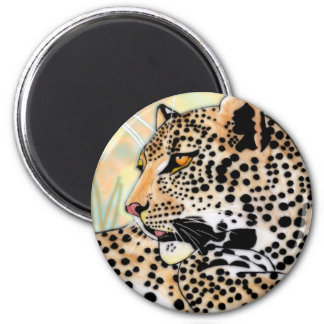 spotted leopard 6 cm round magnet