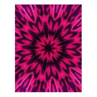 Spotted Leopard Pink Kaleidoscope Postcard