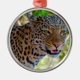 Spotted Leopard Silver-Colored Round Decoration