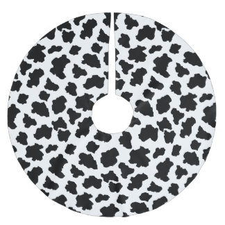 Spotted Little Moo Cow Dutch Holstein Animal Spots Brushed Polyester Tree Skirt