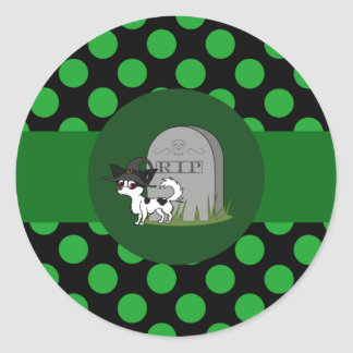 Spotted Long Hair Chihuahua with Grave Stone Round Sticker