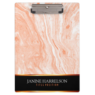 Spotted Orange And White Marble Stone Clipboard