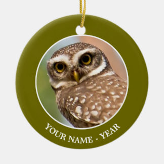 Spotted owl on morning flight. round ceramic decoration