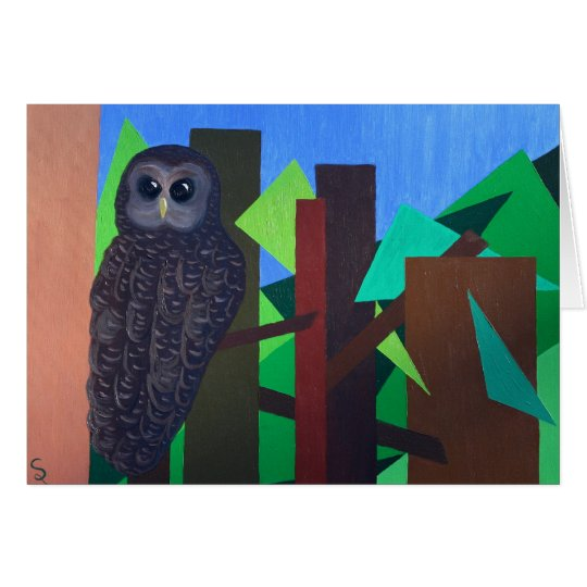Spotted Owl Painting Card