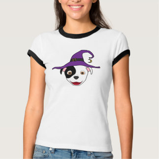 Spotted Pitbull with Witch Hat T-Shirt