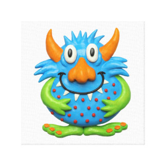 Spotted Yellow Monster Baby Boy Shower Nursery Canvas Prints