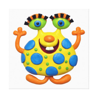 Spotted Yellow Monster Baby Boy Shower Nursery Gallery Wrapped Canvas
