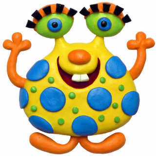 Spotted Yellow Monster Baby Boy Shower Nursery Standing Photo Sculpture