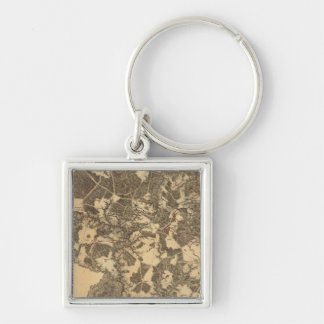 Spottsylvania Court House, Virginia Silver-Colored Square Key Ring