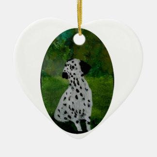 Spotty Dalmatian Dog Art Ceramic Heart Decoration