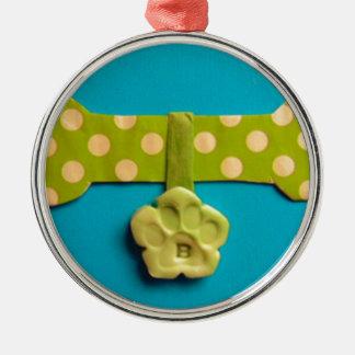 Spotty Dog Bone - B Silver-Colored Round Decoration