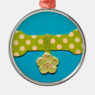 Spotty Dog Bone d.jpg Silver-Colored Round Decoration