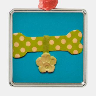 Spotty Dog Bone - g.jpg Silver-Colored Square Decoration