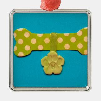 Spotty Dog Bone - h.jpg Silver-Colored Square Decoration
