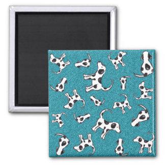 Spotty Dog Pattern on Blue Fridge Magnet
