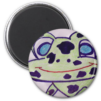 spotty frog face sticker 6 cm round magnet