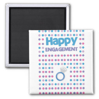 Spotty Happy Engagement greeting card Square Magnet