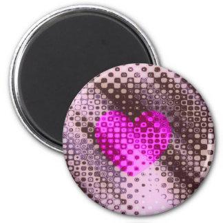 spotty heart 6 cm round magnet