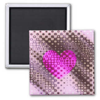 spotty heart square magnet