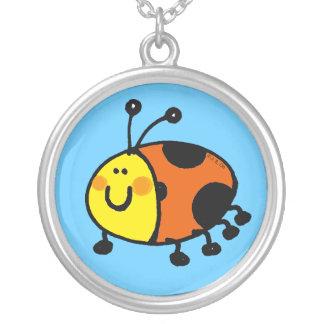 Spotty ladybug silver plated necklace