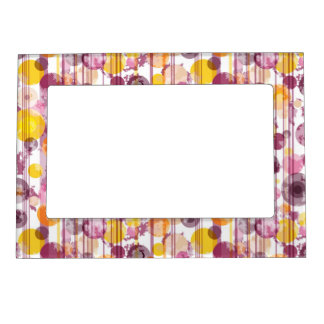 Spotty Striped White Pattern Magnetic Photo Frame