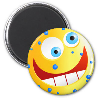 Spotty Yellow Smilie 6 Cm Round Magnet