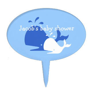 Spouting blue whale cake topper for baby shower