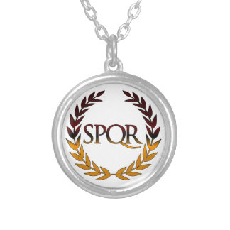 SPQR SILVER PLATED NECKLACE